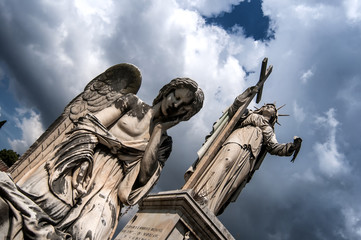 statues in the cemetery of Naples