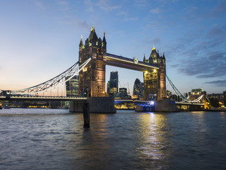 Tower Bridge and River Thames at twilight, London, England, United Kingdom, Europe
