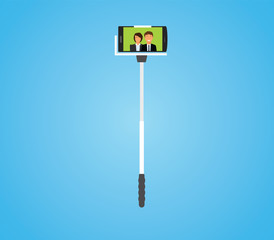 Selfie stick with smartphone attached