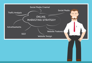 A man present about online marketing strategy concepts