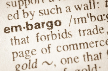 Dictionary definition of word embargo