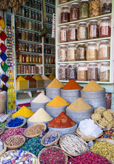 Herbs and spices for sale in souk, Medina, Marrakesh, Morocco, North Africa, Africa