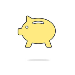 simple yellow piggy bank icon with shadow