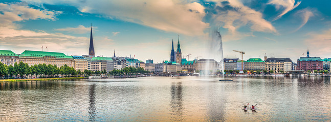 Binnenalster (Inner Alster Lake) panorama in Hamburg, Germany at sunset