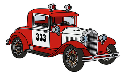 Vintage fire guard car / hand drawing, vector illustration