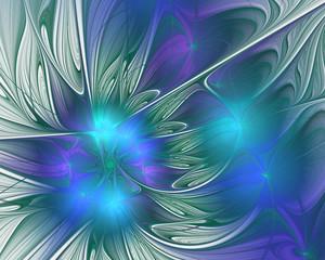 Abstract fractal design. Flower petals in blue.