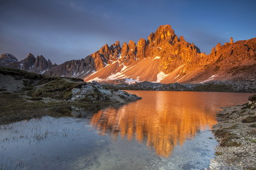 Sunrise at Mount Paterno and Lakes Piani in the Dolomites of Sesto, on the border between Veneto and South Tyrol, Italy, Europe