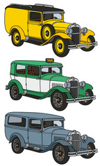 Vintage cars / hand drawing, vector illustration