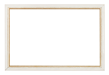 gold carved narrow white picture frame