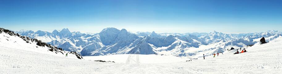 Wall Mural - Panorama of winter mountains in Caucasus region,Elbrus mountain, Russia