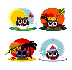Cartoon owl and four seasons