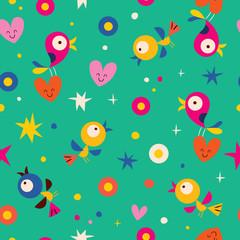 cute hearts birds flowers seamless pattern