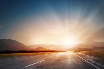 Sunrise above road Fotomurales