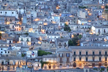 Modica at dusk, Sicily, Italy, Europe