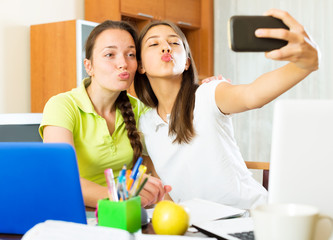 girls taking a selfie photo