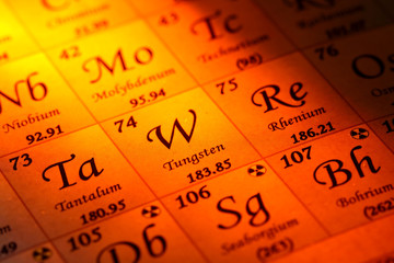 Periodic table. Elements of the periodic table with orange light.