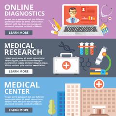 Online diagnostics, medical research, medical center flat illustration concepts set