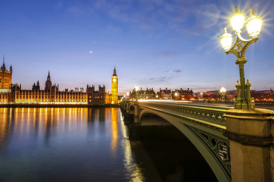 View of Big Ben and Palace of Westminster, River Thames and Westminster Bridge at night, London