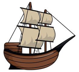 Pirate ship cartoon illustration