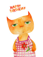 Cat in plaid dress Portrait. Happy birthday. Watercolor