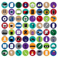 Various Objects And Appliances Icons Set - Isolated On Background - Vector Illustration, Graphic Design, Editable For Your Design