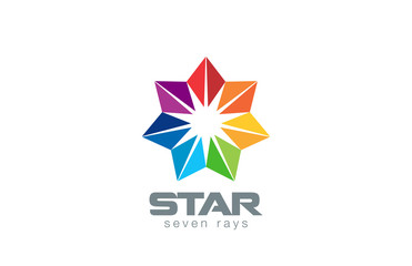 Seven point Star Logo abstract design vector template. Geometric