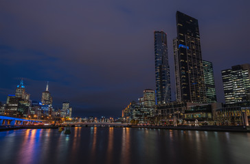 Melbourne city in the twilight time, Australia.
