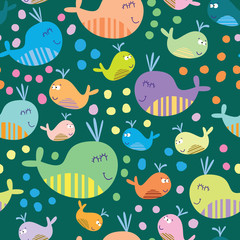 Cute seamless pattern with whales