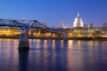 River Thames, Millennium Bridge and St. Paul's Cathedral at dusk, London, England, United Kingdom, Europe