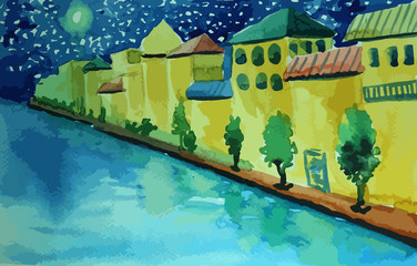 Italian-style houses on the river with beatiful moon painting