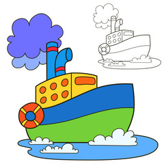 Motor ship. Coloring book page. Cartoon vector illustration.