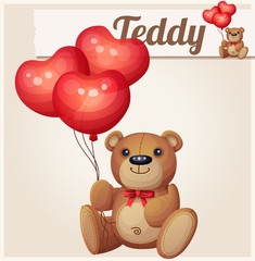 Teddy bear with heart balloons. Cartoon vector illustration.