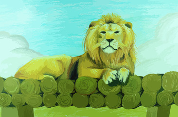 Lion sitting on pile of wood painting background