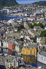 View from Aksla hill over the Art Nouveau buildings of Alesund and out to the open sea, More og Romsdal