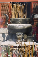 Incense burning at Taoist Donyue temple, Chaoyang district, Beijing, China, Asia