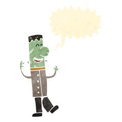 retro cartoon zombie man