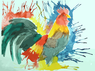 colorful gamecock drawing background