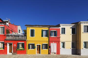 Multi coloured houses in Burano, Venice, UNESCO World Heritage Site, Veneto, Italy, Europe