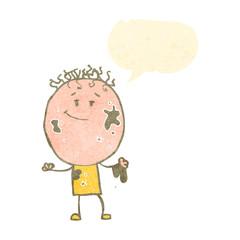retro cartoon dirty boy with speech bubble