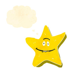 retro cartoon star with face