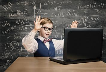 Kid Looking at Laptop, Child Notebook, Little Boy Mathematics formula
