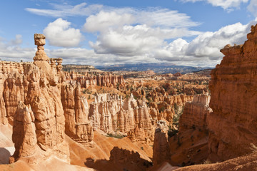 Thor's Hammer from the Navajo Loop Trail on a partially cloudy day, Bryce Canyon National Park, Utah, United States of America, North America