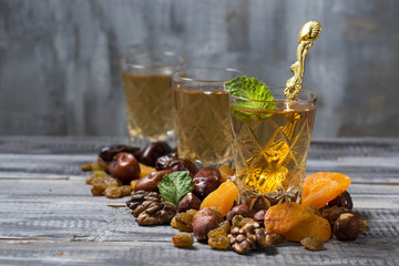 Traditional arabic tea and dry fruits