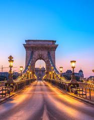 Fotobehang Brug The Szechenyi Chain Bridge (Budapest, Hungary) in the sunrise
