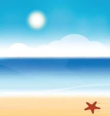 Sunny beach, vector illustration