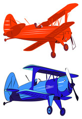 Red and blue biplanes vector illustration