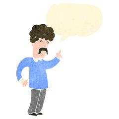 retro cartoon mustatche man with speech bubble