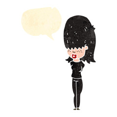 retro cartoon goth teen girl with speech bubble