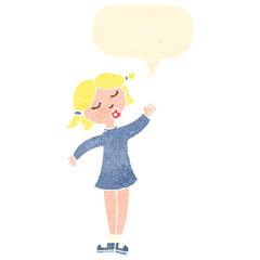 retro cartoon waving girl with speech bubble