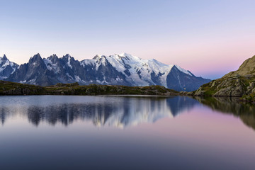 Mont Blanc reflected during twilight in Lac des Cheserys, Haute Savoie, French Alps, France, Europe